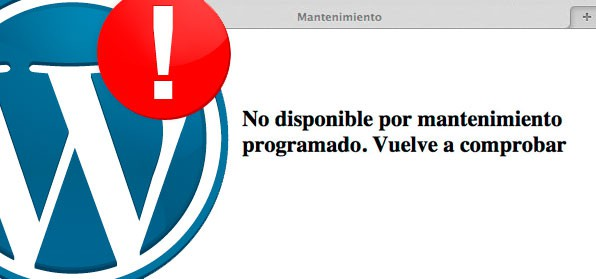 error wordpress No disponible por mantenimiento